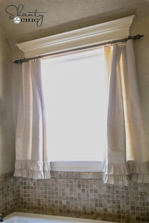 diy bathroom curtain ideas diy ruffle drop cloth curtains shanty 2 chic