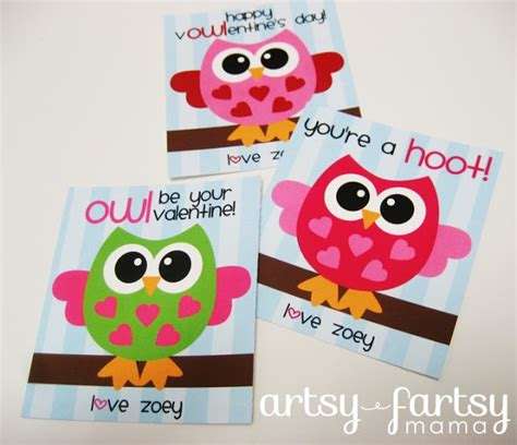 printable owl card 6 best images of free printable owl valentine cards kids