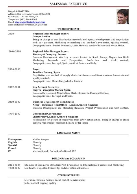 Resume Or Curriculum Vitae Sles by Cv Salesman Executive