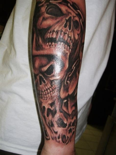 skull half sleeve tattoos for men 15 best skull sleeve images on