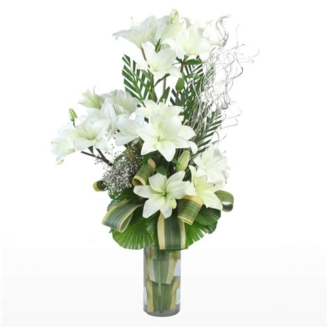 Lilies In Vase by 10 White Lilies In Vase