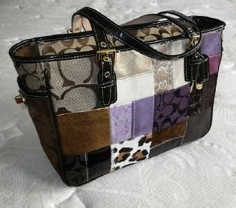 Coach Patchwork Gallery Tote - coach purple multi sig patchwork gallery tote bag