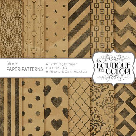 How To Make Digital Scrapbook Paper - kraft digital scrapbook paper with ink patterns by