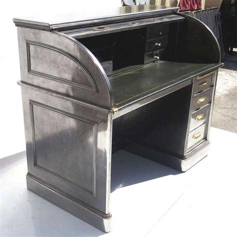 Steel Top Desk by Polished Steel Roll Top Desk At 1stdibs