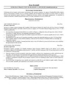 example inventory supervisor resume free sample