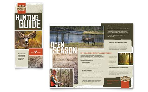 Hunting Guide Tri Fold Brochure Template Word Publisher Publisher Manual Template
