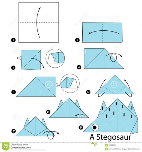 How To Make A Origami Dinosaur - step by step how to make origami a dinosaur