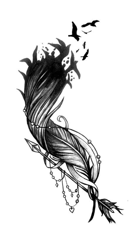 feather tattoo vorlagen feather flock arrow tattoo design tattoo ideen tattoo