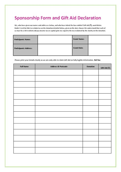 sponsorship template sponsorship form template uk