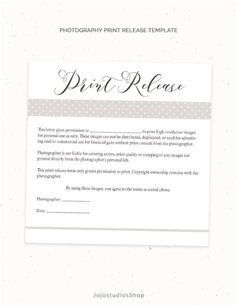 Photography Print Release Form Template Photography Template Photo Print Release Form Template