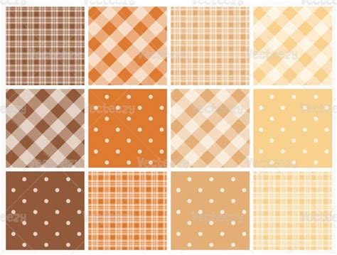 dot pattern vector pack fall colored plaid and polka dot pattern vector pack