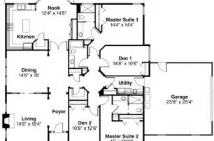 House Plans With 3 Master Suites House Plan With 2 Master Suites Single Story House Best