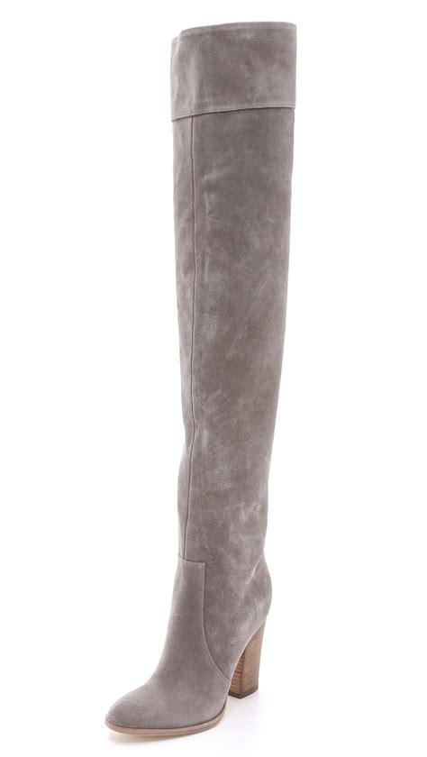 club monaco the knee suede boots grey in gray