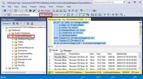 case transact sql ssms connect and query data in azure sql database