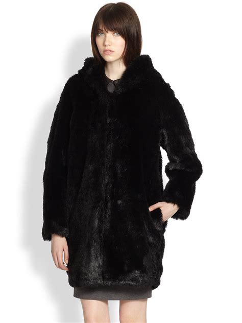Dear Fashion Mafia Black Sweater Fur Sleeves by Thakoon Addition Hooded Faux Fur Coat In Black Lyst