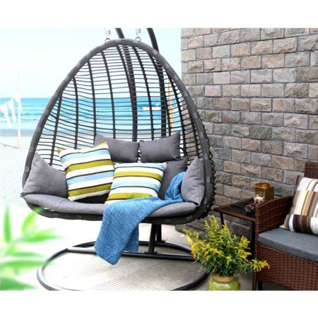 egg shaped patio swing chair baner garden outdoor egg shaped swing chair black