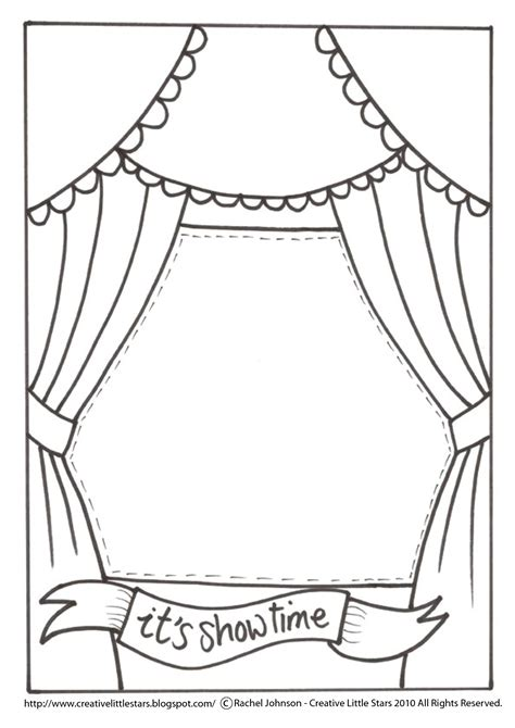 Theatre Stage Coloring Pages Drama Pinterest Paper Toys Puppet And Craft Theatre Template