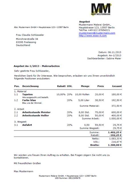 Angebot Unterbreiten Muster Angebote Schreiben Angebotsvorlagen Und Angebot Muster