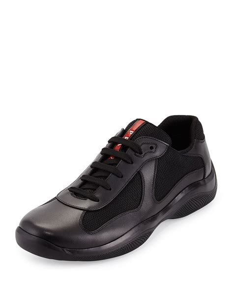 prada americas cup sneaker prada americas cup leather mesh sneaker in black for