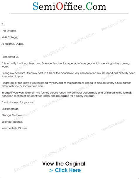 Sle Letter Asking For Contract Renewal Letter To Renew Employment Contract Sle Semioffice Semioffice