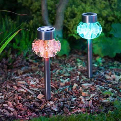 2 Colour Changing Led Stainless Steel Solar Stake Lights Garden Solar Lights