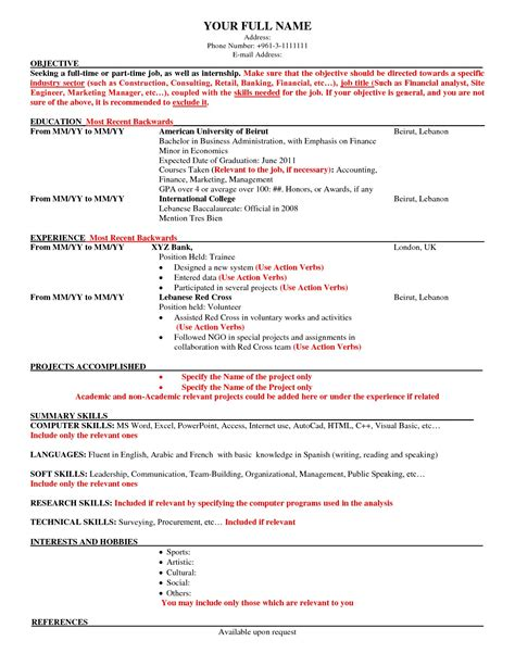 American Cv Template by American Resumes American Resume Sles American Resume