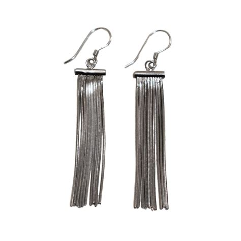 Tassel Earring In Silver sterling silver tassel earrings moho silver