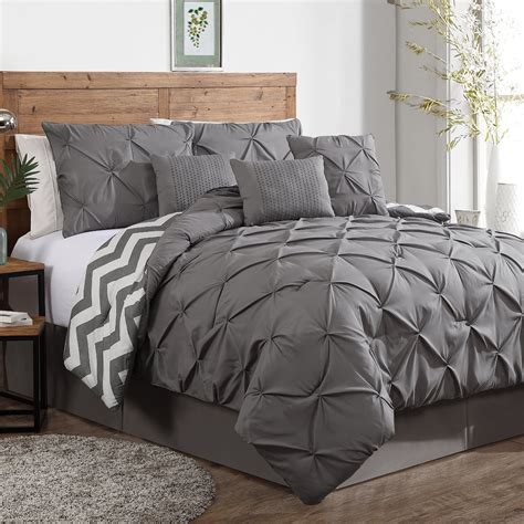 Comforter Sets luxurious reversible 7 comforter set king size bedding pinch pleat gray ebay