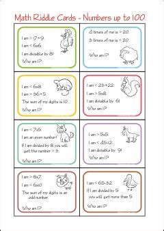guess my number printable cards 2nd grade math worksheets