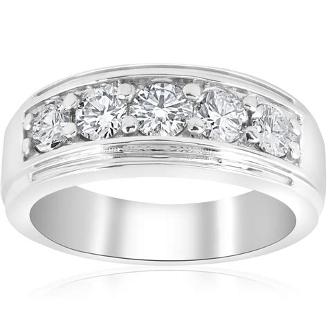 channel set mens wedding ring band sig  ct diamond