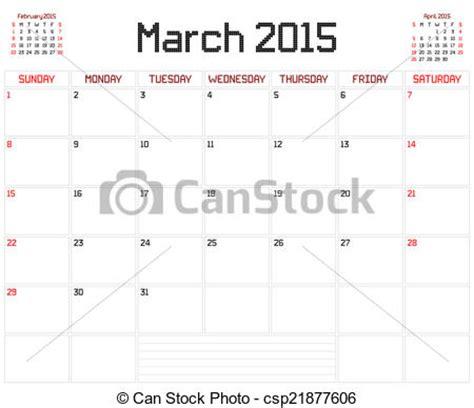 Calendario Marzo 2015 Vector Clip De A 241 O 2015 Marzo Planificador Un