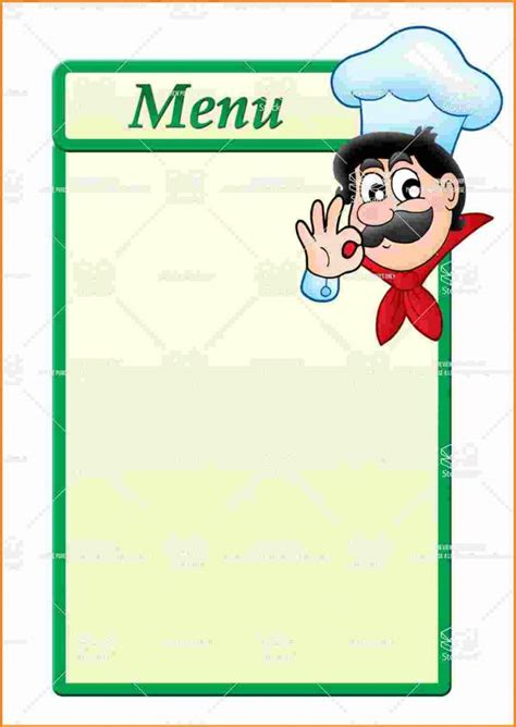 Sle Blank Menu Templates Best And Professional Templates Blank Dinner Menu Template