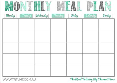 monthly meal planner template excel asmex club