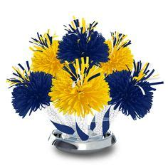 blue and yellow centerpieces deco for kcr on reunions class reunion