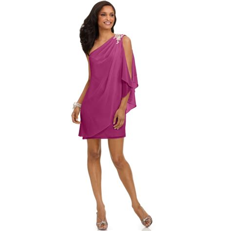 drape dress with one shoulder js boutique one shoulder draped evening dress in pink