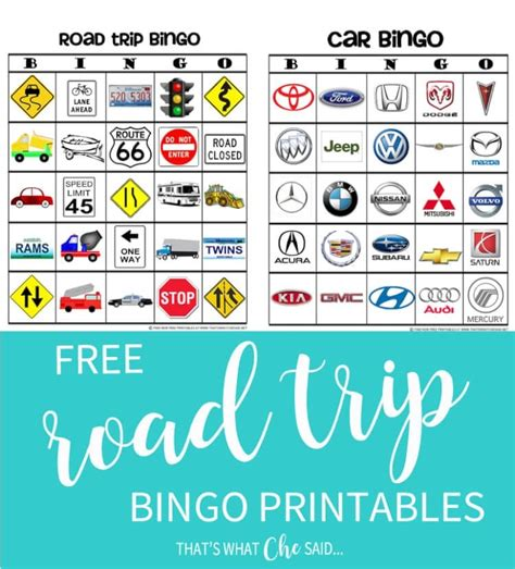 travel bingo card template road trip bingo free printable that s what che said