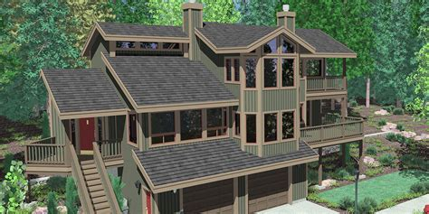 daylight basement hillside house plans with garage underneath