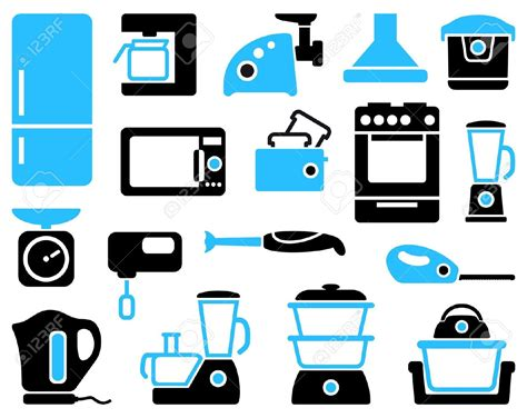 vintage home appliances icons stock vector illustration small appliances clipart clipground
