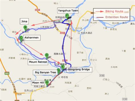 Top Yangshuo Countryside Biking Routes, Yangshuo Cycling Tour Map