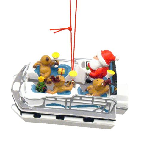 boat ornament santa reindeer pontoon boat coastal christmas ornament