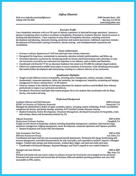 Culinary Resume Template by Excellent Culinary Resume Sles To Help You Approved