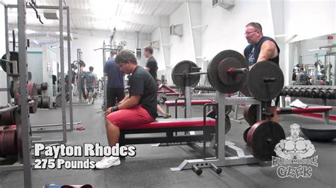 275 pound bench press payton rhodes 275 pound bench press 15 years old youtube