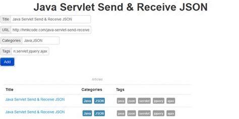 tutorial jquery ajax json java servlet send receive json using jquery ajax hmkcode