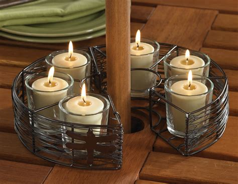 patio umbrella candle holder umbrella stand six votive holder