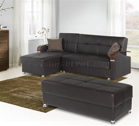 soho sectional sofa in brown bonded leather by w options