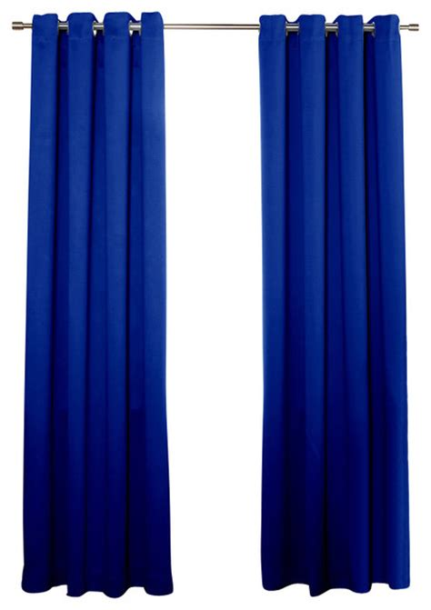 Royal Blue Blackout Curtains Grommet Top Solid Thermal Insulated Blackout Curtain Pair 95 Quot Royal Blue Contemporary