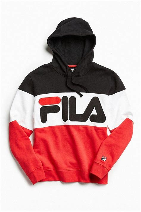Hoodie Zipper Sweater Fila fila colorblocked hoodie sweatshirt in for lyst