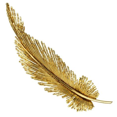Century Home Decor by Gold Feather Brooch