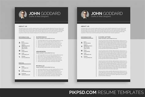 Resume Cv 2 Page 2 Page Cv Template