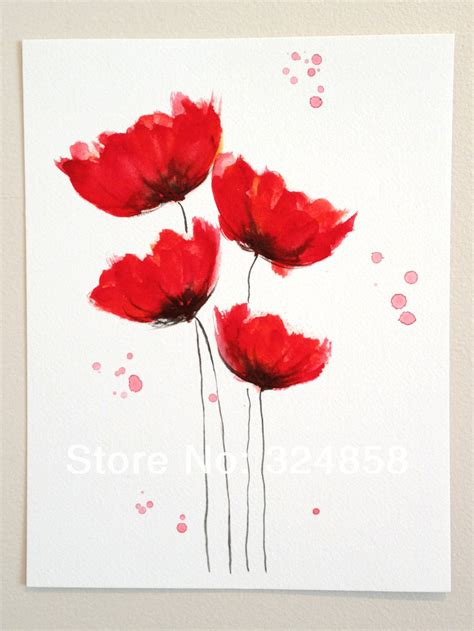 poppy home decor original watercolor painting poppy cluster red flowers